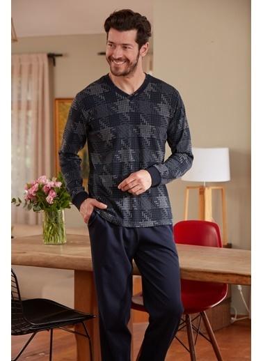 Eros V Yaka Uzun Kollu Pijama Takımı Lacivert